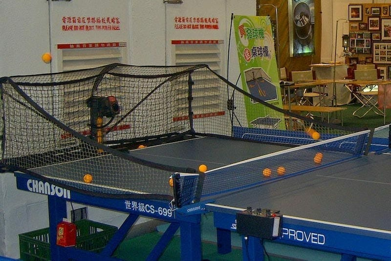 table tennis robot firing ping pong balls